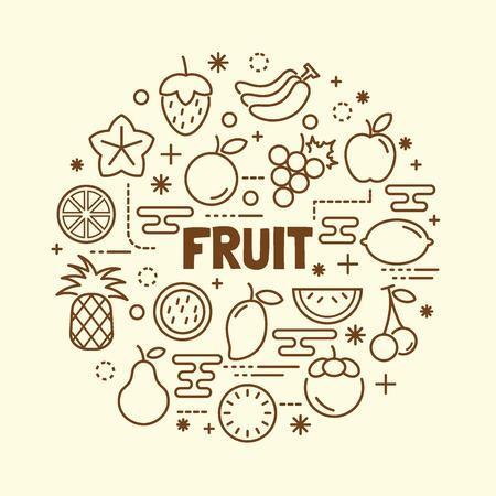fruit minimal thin line icons set, vector illustration design elements