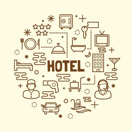 pool rooms: hotel minimal thin line icons set, vector illustration design elements Illustration