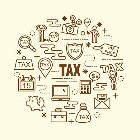 tax minimal thin line icons set, vector illustration design elements Illustration