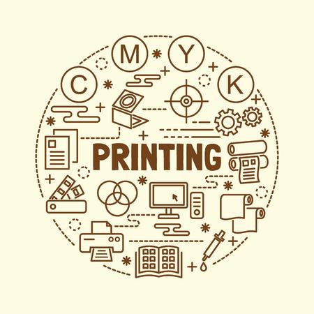 printing minimal thin line icons set, vector illustration design elements Vetores