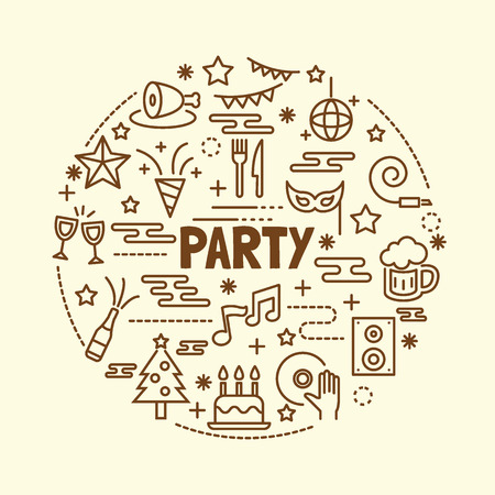 clink: party minimal thin line icons set, vector illustration design elements