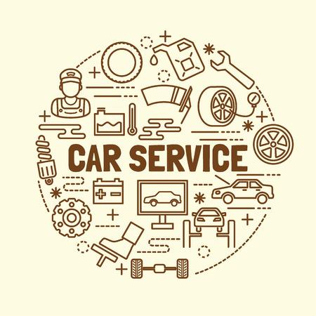 minimales icônes de ligne mince de service de voiture fixés, des éléments de conception illustration vectorielle