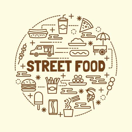 street food minimal thin line icons set, vector illustration design elements Illustration