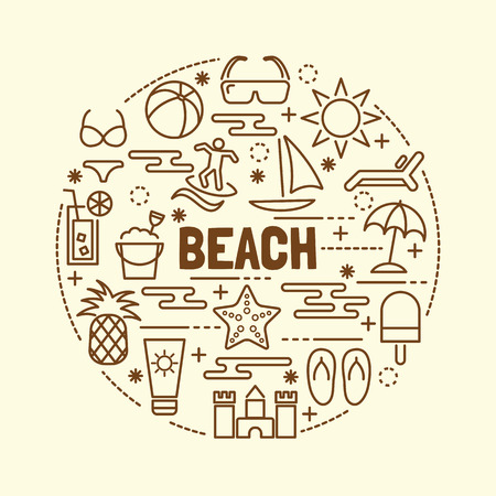 sunscreen: beach minimal thin line icons set, vector illustration design elements Illustration