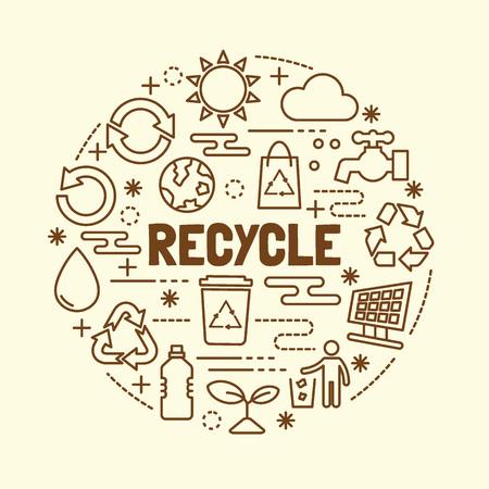 reciclar: reciclar iconos de línea delgada conjunto, ilustración vector elementos mínimos de diseño