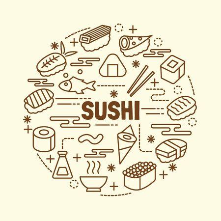 nori: sushi minimal thin line icons set, vector illustration design elements
