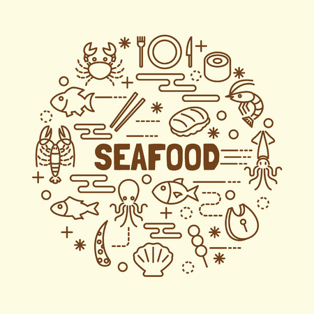 nori: seafood minimal thin line icons set, vector illustration design elements