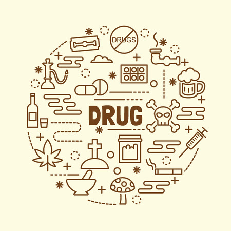 drug minimal dunne lijn iconen set, vector illustratie design elementen
