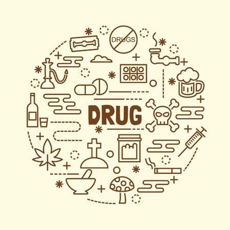 drug minimal thin line icons set, vector illustration design elements Illustration