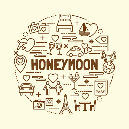 honeymoon minimal thin line icons set, vector illustration design elements