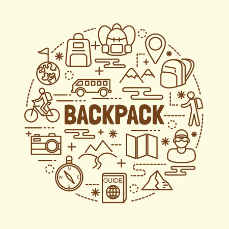 walking trail: backpack minimal thin line icons set, vector illustration design elements