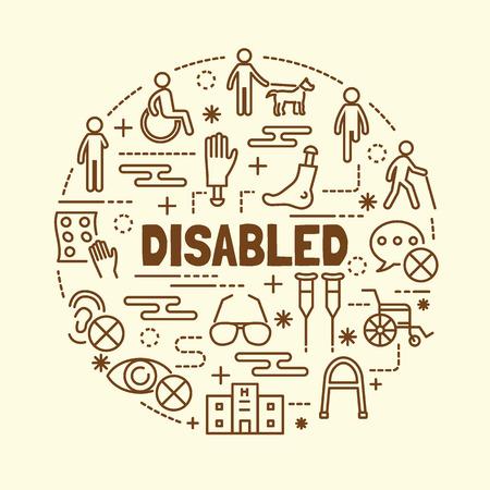disabled minimal thin line icons set, vector illustration design elements