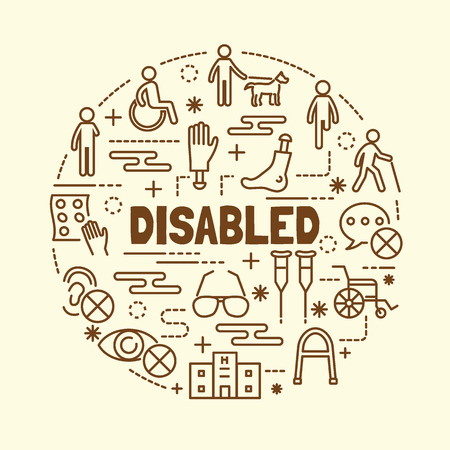 disabled minimal thin line icons set, vector illustration design elements