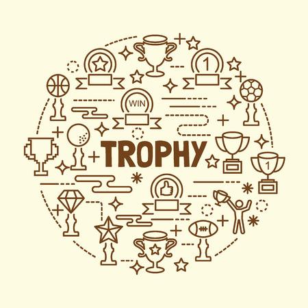 medal like: trophy minimal thin line icons set, vector illustration design elements
