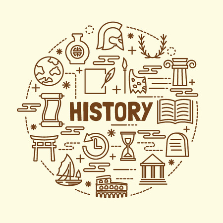 chinaware: history minimal thin line icons set, vector illustration design elements