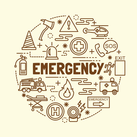 emergency minimal thin line icons set, vector illustration design elements Illustration