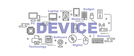 computer device: device and computer vector banner design concept, flat style with thin line art icons on white background Illustration