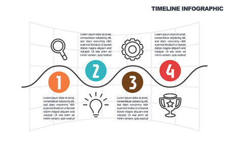 business minimal infographic template, 4 steps timeline infographic layout, vector design element with icons