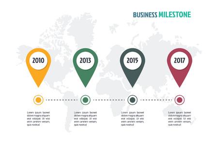 mínimo en el negocio plantilla de infografía, 4 pasos de diseño infografía hito negocio línea de tiempo, elemento de diseño vectorial Ilustración de vector