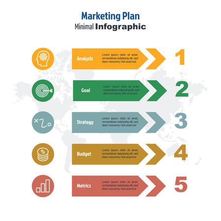 zakelijke minimale 3d infographic sjabloon, 5 stappen marketingplan infographic lay-out, vector ontwerpelement met pictogrammen Vector Illustratie