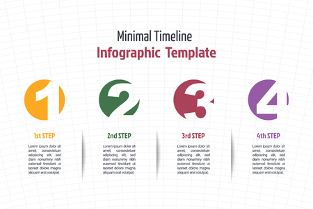 number icons: business minimal infographic template, 4 steps business process timeline infographic layout, vector design element with number icons