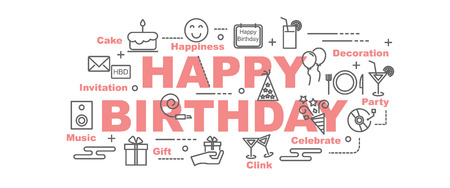 clink: happy birthday minimal vector banner design concept, flat style with thin line art icons on white background Illustration