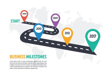 Modèle infographique minimum d'entreprise, 5 étapes, historique, historique, chronologie, infographie, traçage, vecteur, conception, élément Vecteurs