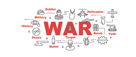 防衛: 戦争ベクター バナー デザイン コンセプト、白い背景の上の細い線アート アイコンあるフラット スタイル  イラスト・ベクター素材