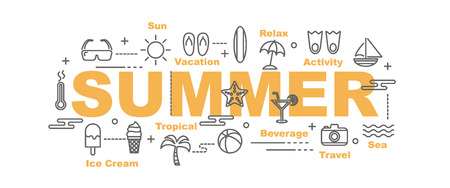summer vector banner design concept, flat style with thin line art icons on white background