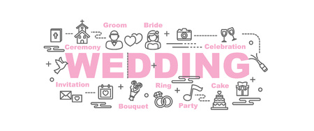 wedding vector banner design concept, flat style with thin line art icons on white background Illustration