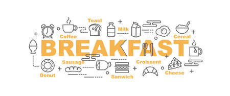 breakfast vector banner design concept, flat style with thin line art icons on white background Vector Illustration