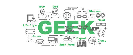 mania: geek vector banner design concept, flat style with thin line art icons on white background