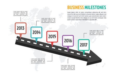 roadmap: business minimal infographic template, 5 steps business milestone history timeline infographic layout, vector design element