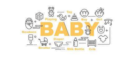 concepto de diseño de banner de vector de bebé, estilo plano con iconos de arte de línea fina sobre fondo blanco