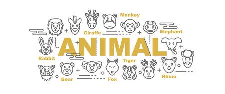 tigre cachorro: Animales salvajes vector concepto de diseño de banner, estilo plano con línea fina iconos de arte sobre fondo blanco