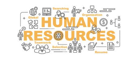 Concetto di progettazione di banner vettore risorse umane, stile piatto con icone di arte sottile linea su sfondo bianco Vettoriali
