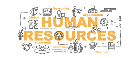 job descriptions: human resources vector banner design concept, flat style with thin line art icons on white background