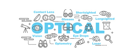 eye exams: optical vector banner design concept, flat style with thin line art icons on white background