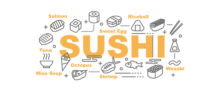 nori: sushi vector banner design concept, flat style with thin line art icons on white background Illustration