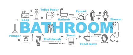 white bathroom: bathroom vector banner design concept, flat style with thin line art icons on white background