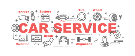 automobile: car service vector banner design concept, flat style with thin line art icons on white background
