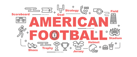 american football vector banner design concept, flat style with thin line art icons on white background