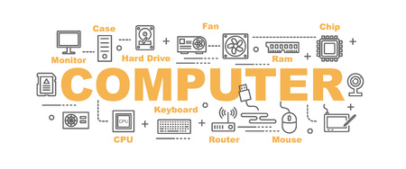 random access memory: computer part vector banner design concept, flat style with thin line art icons on white background Illustration