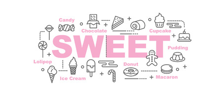 cupcakes: Sweet vector banner design concept, flat style with thin line art icons on white background Illustration