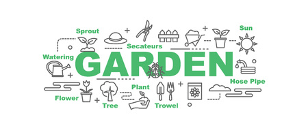 pruning shears: garden vector banner design concept, flat style with thin line art icons on white background Illustration