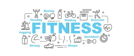 Fitness-Vektor-Banner-Design-Konzept, flacher Stil mit dünnem Linie Kunst-Symbolen auf weißen Hintergrund Vektorgrafik