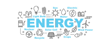 oil and gas industry: energy vector banner design concept, flat style with thin line art icons on white background