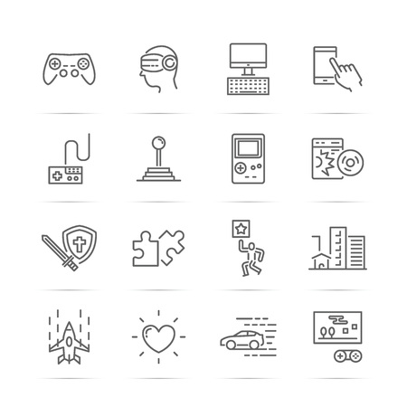 handheld device: video game vector line icons, minimal pictogram design, editable stroke for any resolution