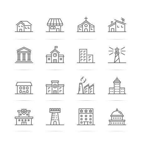 building estate: Building and real estate vector line icons, minimal pictogram design, editable stroke for any resolution
