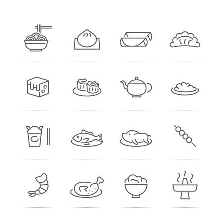 中華料理ベクトル線のアイコン、最小限のピクトグラム デザイン、任意の解像度の編集可能なストローク  イラスト・ベクター素材